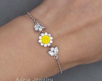 Yellow Opal Bracelet, Yellow Bridesmaid Jewelry, Rhinestone Halo Bracelet,   Swarovski Crystal  Bracelet, Dainty Bracelet