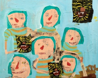 """Playing Pretend"""" by outsider artist melissa monroe- Tigar Folk art 11"""" x 14"""" Print, archival edition of 10 signed and numbered"""