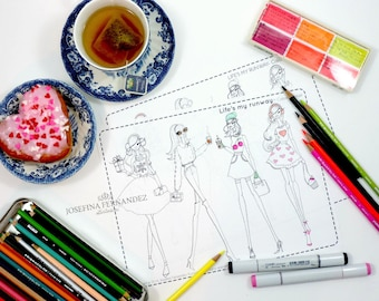 """Printable coloring page """"Life's my runway"""", adult coloring page, printable colouring page, coloring pages for adults,adult coloring download"""