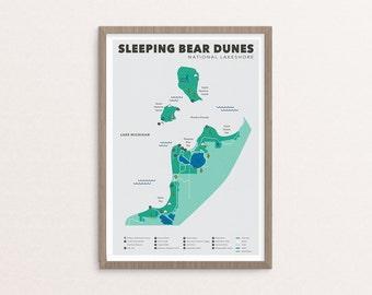 Sleeping Bear Dunes National Lakeshore Map, Sleeping Bear Dunes, Outdoors print, Explorer Wall Print