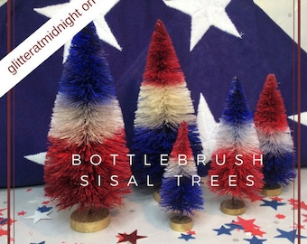 4th of July Bottlebrush Trees ( Set of 5 ) Red White & Blue