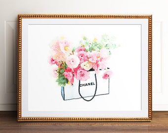 Chanel print, Wall art, PRINTABLE art, Glam art, Glam decor, Chanel art, Fashion print, Fashion art, Wall prints, Watercolor prints