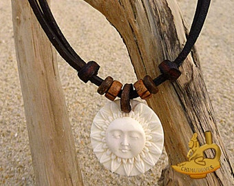 Surfer Necklace Surf Jewelry Sun Pendant Leather Necklace Handmade by ©chimuwaves