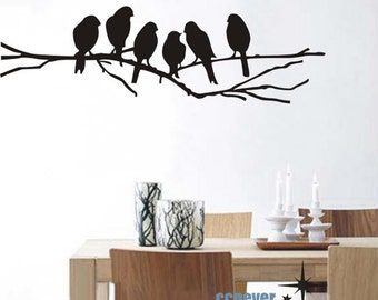 Birds Family on tree 60inch----Removable Graphic Art wall decals stickers home decor