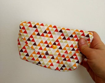 Mini Makeup-Clutch  *TRIANGLES*, small padded cosmetic bag, toiletry pouch, Makeup pouch, little Make Up-bag