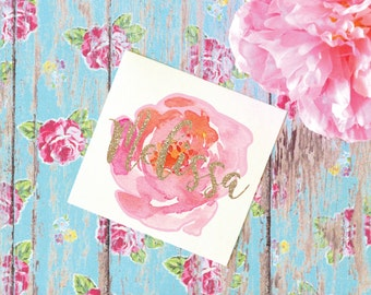 Peony Watercolor Monogram Decal, Flower Decal, Tumbler Decal, Printed Decal
