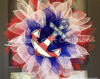 Made to Order Patriotic Sunflower Wreath/4th of July Decor/Red White and Blue/Anchor Wreath/Holiday/Front Door Wreath/Military/Everyday