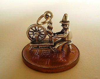 Sterling Silver Welsh Lady At Spinning Wheel Charm