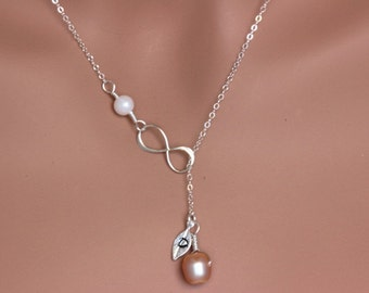 Custom list for  sophies999 . Personalized Infinity Lariat Necklace, Custom Birthstone Necklace, Infinity Pearl Lariat Neckalce