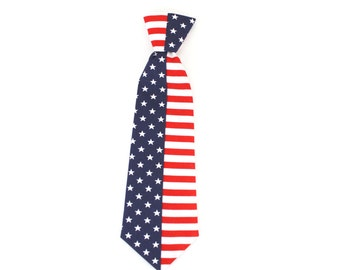 American Flag Dog Necktie Cat Necktie 4th of July Stars and Stripes Patriotic Red White and Blue Cat Neck Tie Dog Neck Tie