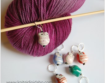 Colorful Owl Stitch Markers (Set of 6)