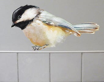 Chickadee Wall Decal, Bird Wall Sticker, Get Well Gift, Watercolor Fabric Wall Sticker (Not Vinyl), Nursery, Black-Capped Chickadee