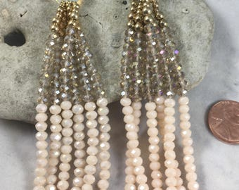 Earrings. Gorgeous dangle earrings. Pale pink and gold beaded dangle statement earrings (A6)