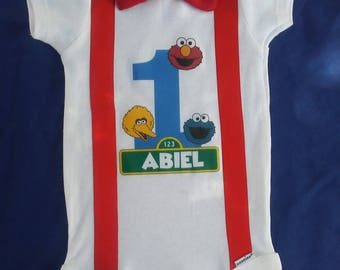 Sesame Street Birthday Onesie Elmo Cookie Monster