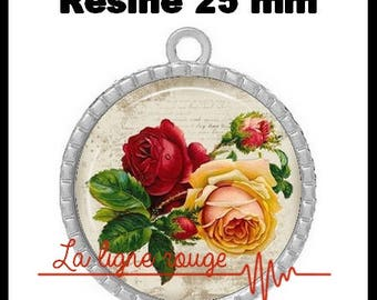 Round Cabochon pendant 25 mm epoxy - roses (252)
