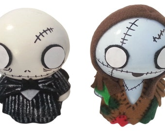 Zombie Chibi Figurine Set Inspired by Tim Burton's Nightmare Before Christmas  | Halloween Centerpieces | Jack and Sally Art | Collectible