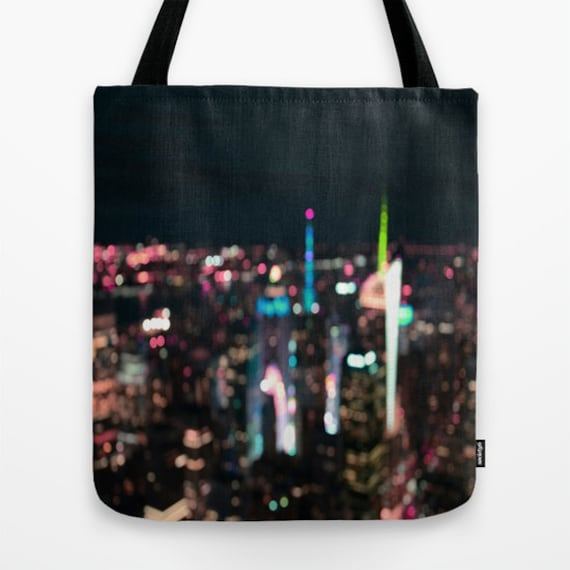 New York Tote Bag, 13x13, 16x16, 18x18, Skyline Tote, City Tote, Beach Tote, Night City Bokeh,Office Tote, Shoulder Bag, Market Tote, Sunset