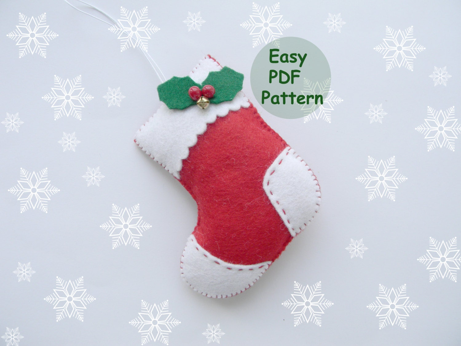 Pdf pattern felt stocking easy christmas stocking ornaments pdf pattern felt stocking easy christmas stocking ornaments pattern red felt christmas ornament easy sewing pattern diy advent ornament jeuxipadfo Gallery