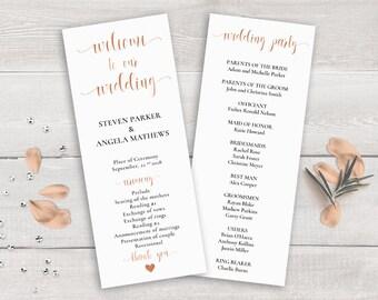 Rose Gold Wedding Program Template, Order of Ceremony Printable, Wedding Ceremony Program Rose Gold, Wedding Program Copper, Wedding Party