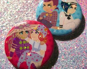 "Jojo's Bizarre Adventure SPARKLY FRIENDS - 2.25"" holographic button"