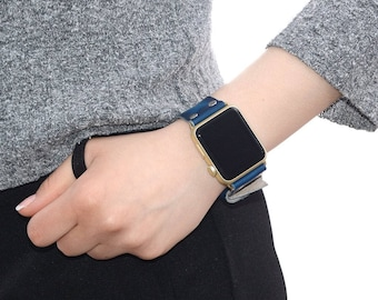 Blue Leather apple watch band 38mm / 42mm // apple watch accessories - leather apple watch strap - iwatch band leather - lugs adapter