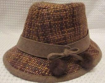 Steve Madden Wool Tweed Fedora Hat with Fur Pom Tassels Women's One Size NWT