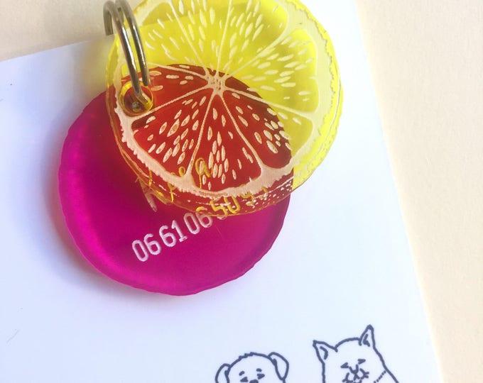 Médaillon pour chien ou chat - Agrumes jaune et rose