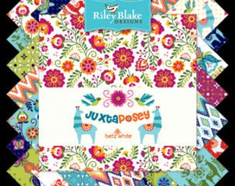 """Juxtaposey Charm Pack Stacker by Betz White for Riley Blake Fabrics, 42 Pieces, 5"""" squares, Bin C"""