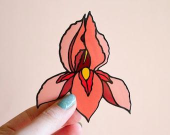 Feminist Pussyflower Vinyl Sticker- Iris Flower Vagina Illustration Art Yoni Floral