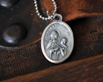 Vintage St. Ann Medal - Catholic - Religious Italian Medal - Christian - Pray For Us - Vintage Handmade - Leather or Chain Necklace