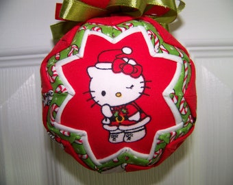 Hello Kitty Christmas Quilted Ornament