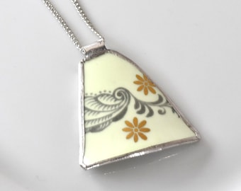 Broken China Jewelry Pendant - Mint Green and Gold
