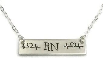 Custom Medical Professional Bar Necklace, Custom Layering Necklace, Heartbeat EKG Necklace, Heartbeat Necklace, Nurse Necklace