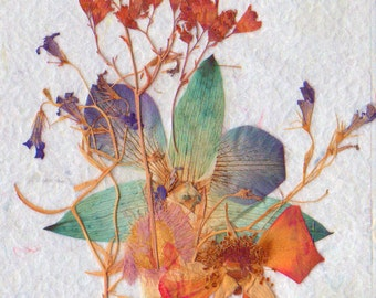Original 4 X 6 Dried/Pressed Flower Mixed Media Composition, Framed in a Vintage Umbra Pine Wood Frame