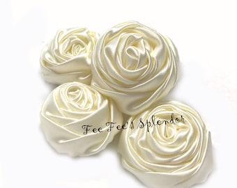 "Satin Rose - 1.5"" Ivory cream- Set of 3- rolled rosette - Twisted rose - rolled satin rosebud"