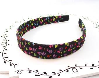 Big Girl Headband, Cat Lover Headband, Dog Lover, Paw Print Headband, Girls Hair Accessory, Adult Hard Headband, Vet Tech Gift, Gift For Her