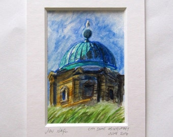 City Dome Observatory (June 2014), original watercolour painting of Edinburgh landmark window mount