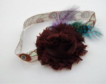 Shabby chic flower baby headband/Feather baby headband