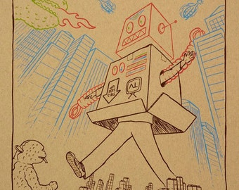 Godzilla Vs. Robot screenprinted art print