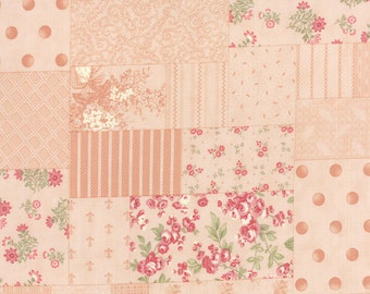Peach Floral Fabric, Moda Whitewashed Cottage 44060 12, 3 Sisters, Peach Cheater Fabric, Cottage Chic Floral Quilt Fabric, Shabby Cotton
