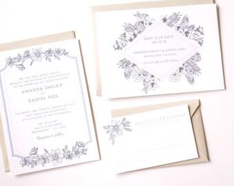 AMANDA Wedding Suite - SAMPLE - Wedding Invitation, Modern Floral Wedding Invitation, Pastel Wedding Invitations, Cotton Wedding Invites