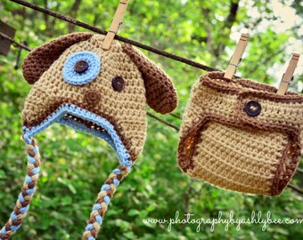 Puppy Dog Crochet Hat and Diaper Cover Set - Photo Prop - Available in 0 to 24 Months - Any Color Combination