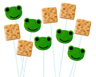 Passover Seder Matzoh and Frog Lollipops - Mix 'n' Match Set - the perfect marzipan holiday hostess gift and kids Seder gift!