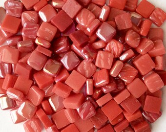 100 8mm Red Mix Mini SQUARES//Recycled Glass Mosaic Tiles//Mosaic Supplies//Craft Supplies//Mosaic Tiles