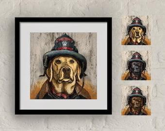 """Framed """"Hero Lab"""" Print Labrador Retriever Art 16""""x16"""""""