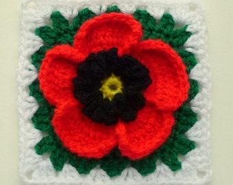Instant Download Crochet PDF pattern - Poppy in granny square