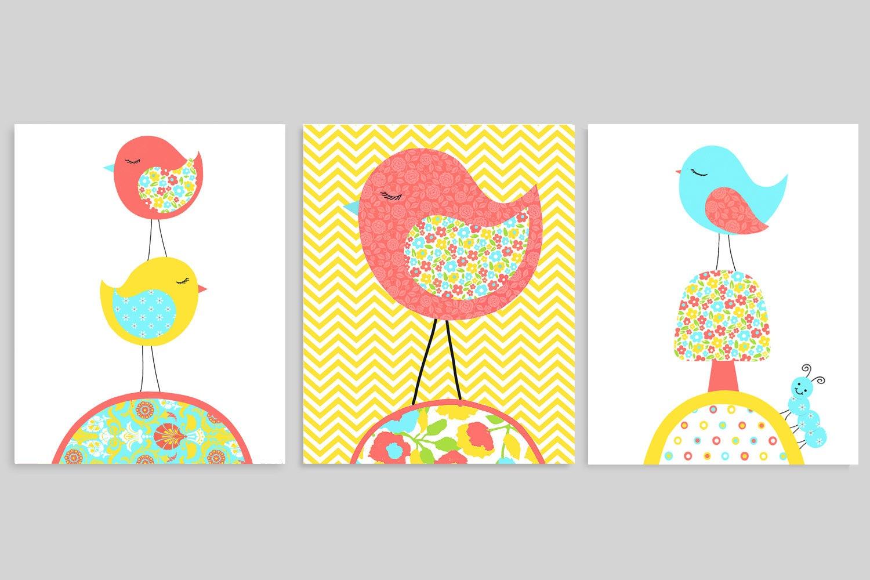 Aqua Coral Yellow Bird Nursery Art Baby Girl Nursery Decor