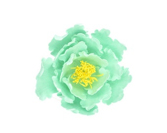 Teal and Yellow Open Peony Sugar Flower for wedding cake toppers and gumpaste decorations