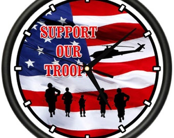 Support Our Troops Wall Clock War Veteran Vet Soldier Military Cadet Gag Gift
