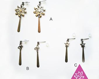 Pins earrings waterproof titanebasque shaped star Flower Butterfly geometric Rod Stud line hypoallergenic sensitive skin